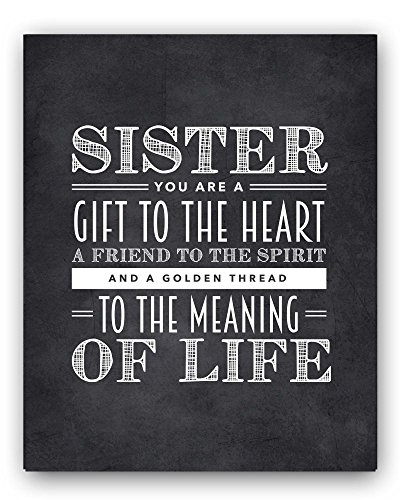 Sister Quote Sign, Unique Sister Gift, Sister Chalkboard Print, Best Sister Gift, Sister Wall Decor, Sister Quotes - Beautiful Black and White Typography Artwork - By Ocean Drop Designs