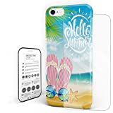 Beach Flip Flop Phone Case Protective Design Durable Hard PC Back Phone Cover with Tempered Glass Screen Protector Compatible for iPhone 7/iPhone 8