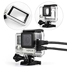 Nechkitter Side Open Skeleton Housing For GoPro Hero4 Hero3+ Hero 3 cameras HDMI,USB,TF Card Access With Bacpac Touched Panel LCD Screen Protective backdoor and lens