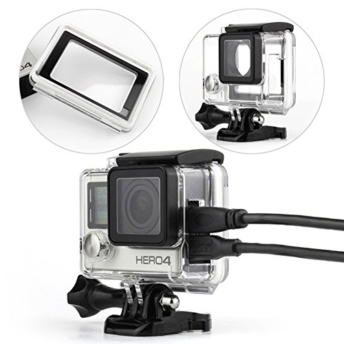WiserElecton Side Open Skeleton Housing For GoPro Hero4 Hero3+ Hero 3 cameras With Bacpac Touched Panel LCD Screen