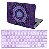 HDE Plastic Hard Case and Keyboard Cover for MacBook Pro 13 (Non Retina) Snap On Protective Hard Shell Purple Teal Mandala Design Fits Old Macbook Pro 13 Inch Model A1278 with CD Drive