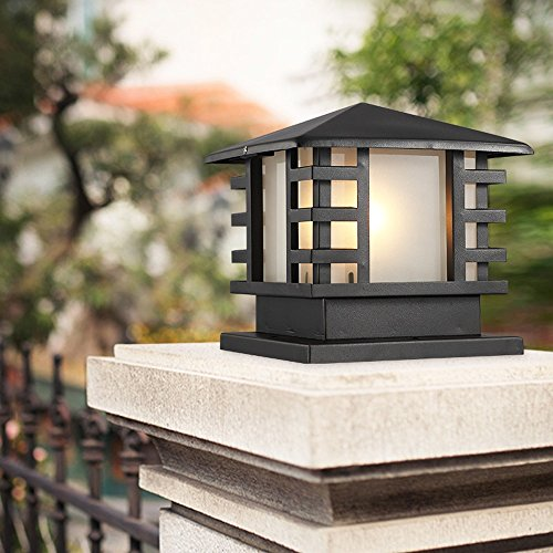 Column Lamp Black Table (Vampsky Continental Victoria Outdoor Glass Table Lamp Creative Modern Industry Black E27 Decoration Column Lamp Post Street Light Aluminum Patio Garden Villa Door Pillar Table Light)