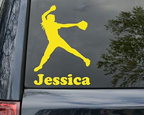 Minglewood Trading Softball Pitcher Vinyl Decal Sticker with Custom Personalized Name 6