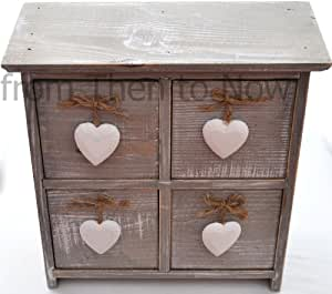Gisela Graham Shabby Chic 4 Drawer Lime Wash Box with Heart Handle by Gisela Graham