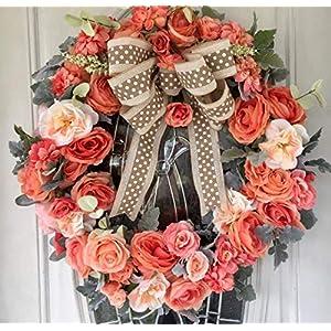 Peach Spring Wreath, Spring Grapevine Wreath,Summer Grapevine Wreath, Wreath for Front Door, Front Door Wreaths, Indoor Outdoor Wreath, Free Shipping 63
