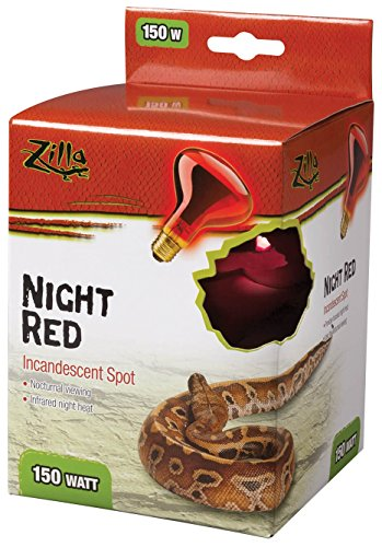 Incandescent Light Night Bulb Reptile (Zilla Night Red Incandescent Spot Bulb, 150 Watt)