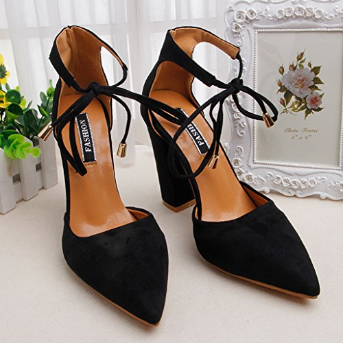 High Heel Pointed Shoes Female Ankle Strap Dress Pumps Party Shoes,Sexy shoes for women,high heels Thin Velvet Cloth Surface Summer Sandals,4.33 inch High Heel Shoes (Black, US size 7.5 B(M)) (Heels Shoes Doll Velvet)