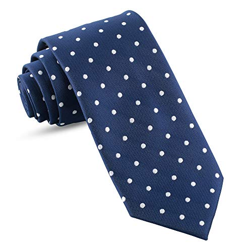 - Handmade Ties For Men: Skinny Woven Slim Tie Mens Ties: Thin Necktie, Solid Color Neckties For Every Outfit (Dots - Navy Blue & White, 3