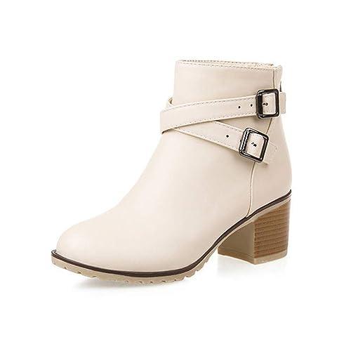 Botas de Mujer con Cabeza Redonda y Hebilla con Cremallera Botines Cuadrados de tacón Alto Zapatos Artificiales Elegantes Botas: Amazon.es: Zapatos y ...