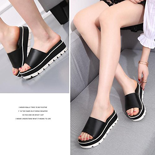 Comfort Sandalias cómodo Primavera MEIDUO Casual Verano Wedge PU Heel negro de sandalias Mujer Chanclas 1cySRW0WO