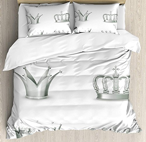 Our Wings Grey Comforter Set,Different Kinds Antique Crowns Queen King Imperial Theme Vintage Symbol Bedding Duvet Cover Sets Boys Girls Bedroom,Zipper Closure,4 Piece,Pale Green White Twin Size by Our Wings
