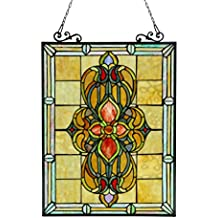 Chloe Lighting Metal Stained Glass Window Panels Lighting Avalon Stained Glass Victorian Window Panel 18X25 18.46 X 25.55 X 0.18 Inches Black Model # CH3P320VI24-GPN