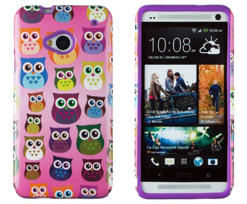 DandyCase 2in1 Hybrid High Impact Hard Colorful Owl Pattern + Purple Silicone Case Cover For HTC One M7 4G LTE + DandyCase Screen Cleaner