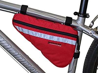 Bushwhacker Gallup Red - Medium Triangle Bicycle Frame Bag w/ Reflective Trim Cycling Pack Bike Under Seat Top Tube Bag Front Rear Accessories Crossbar