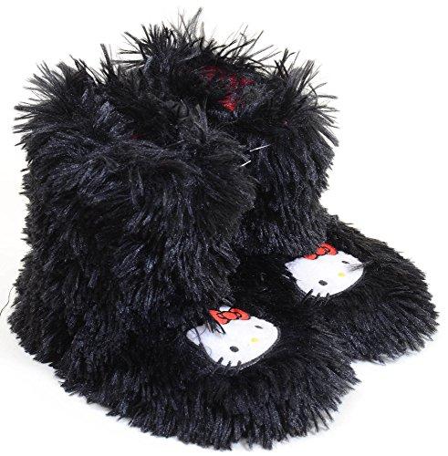 Hello Kitty Black Fluffy Slippers Warm Booties Girls (Hello Kitty Wedding Dress)