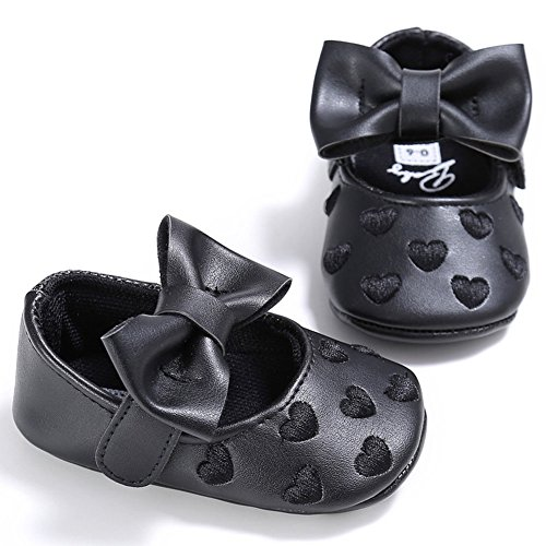 Juleya Niño bebé recién nacido suave Soft Bowknot Princesa Toddler zapatos Green 12-18M negro