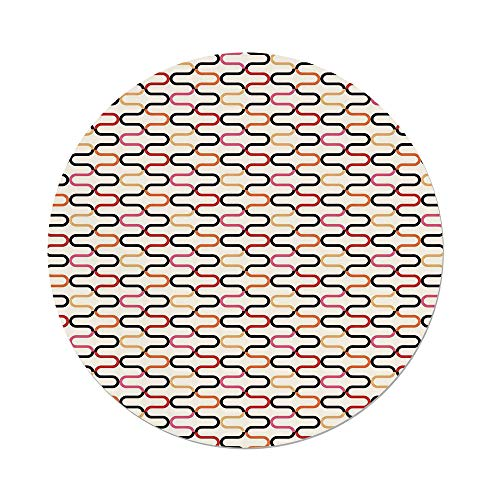iPrint Polyester Round Tablecloth,Retro,Vintage Textured Trippy 60s Fashion Stylish Hippie Artful Composition Curvy Forms,Multicolor,Dining Room Kitchen Picnic Table Cloth Cover,for Outdoor Indoor ()