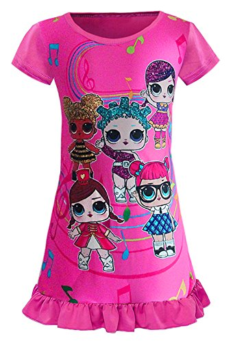 WNQY Surprise Princess Nightgown Little Girls Pajamas Dress for Doll Surprised (140/6-7Y, Rose)
