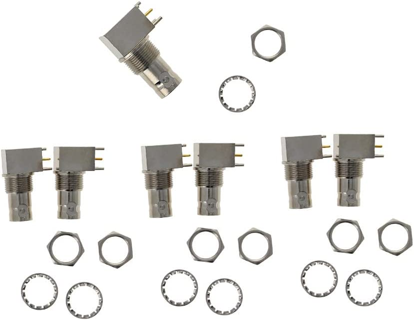 Othmro 7 Pcs Chassis PC Board Mount Right Angle BNC Female Socket Coupler