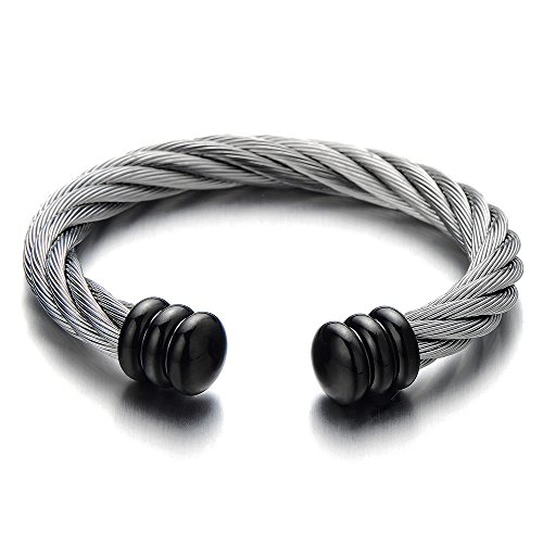 COOLSTEELANDBEYOND Mens Womens Large Elastic Adjustable Steel Twisted Cable Cuff Bangle Bracelet Silver Black Two-Tone ()