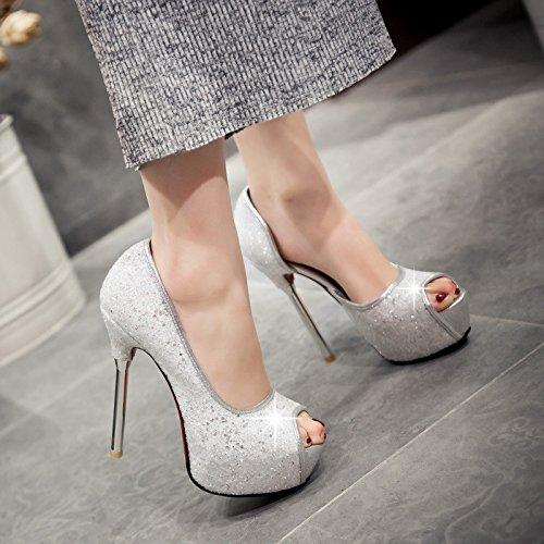 BBSLT-La Primavera Y El Verano El Pescado Los Labios La Boca Superficial Solo Zapatos Lado Vacío Desglosadas Por 13 El Alto Talón Zapatos Zapatos De Mujer De Vida Nocturna. Silver