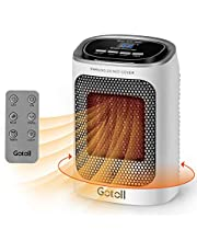 Gotoll Keramisk värmefläkt med fjärrkontroll, PTC keramisk värmare 3 effektnivåer, oscillation elektrisk värmare med timer, LED-skärm, överhettning och vältskydd, elektrisk värmare för inomhus