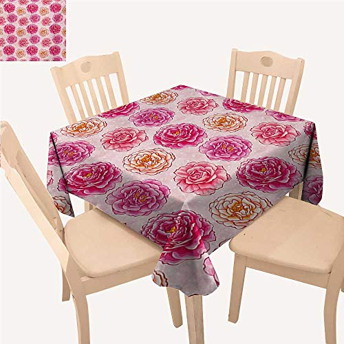 WinfreyDecor Floral Table Cover Romantic Rose Petals Fragrance Bouquets Love Classic Blooms Graphic Small Square Tablecloth Magenta Pale Pink Coral W 70