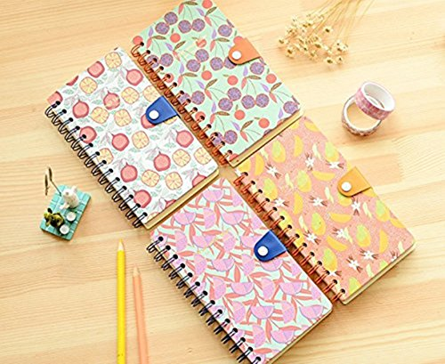 JunShop 1PCS Sketchbook Cover Loose Leaf String Blank Notebook Notepad Journal Diary Student Stationery Notepad Fruit Pattern Diary (color random)