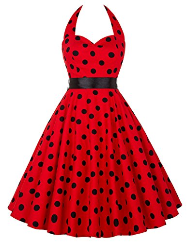 Grace Karin Women Vintage Dresses Polka Dots 50s Rockabilly Wiggle Party Dress (Red - Big Black Dots, Small)
