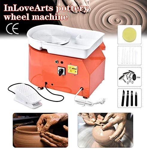 InLoveArts Elektrische Töpferscheibe Maschine 25 cm 350 Watt Töpferscheibe Formmaschine mit Fußpedale und Abnehmbare Waschbecken Keramik Tonformwerkzeug Maschine (Independent Pedal)