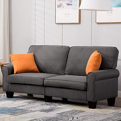 Mecor Loveseat Sofa Linen Fabric Loveseat Couch 70 Inch Sofa with Scroll Arm Classic Modern Living Room Furniture (Grey) ()