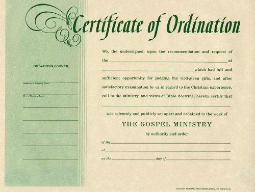 Certificate-Ordination-Minister (Package of - Certificate Ordination