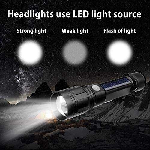 (Euone Flashlight, LED Solar Power Flashlight Camping Lamp Light USB Rechargeable Torch Power)
