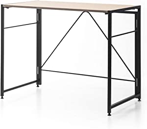 SOFSYS Modern Folding Computer Writing Desk for Small Space, Gaming, and Home Office Organization, Foldable Industrial Metal Frame with Sturdy Desktop for Students or Small Business, Oak/Black