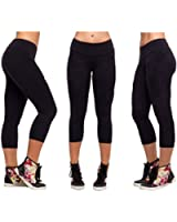 Women Sports Yoga Stretch Short Leggings Under Knee Tights Skinny Spandex Pants