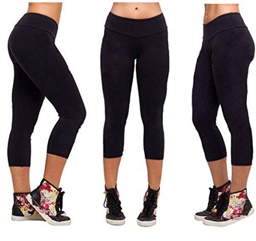 QIYUN.Z Polainas Cortas Deportes De Yoga Estiramiento Bajo Las Medias De La Rodilla Pantalones Spandex Flacos S-XL Negro