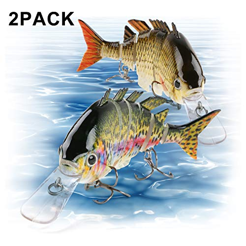 Scotamalone Fishing Lures, Pack of 2, 6 Segment, 3D Eyes, Tackle 6# High Carbon Steel Anchor Hooks, Topwater Lifelike Multi Jointed Artificial Swimbait, Hight Quality Hard Lures, 3.93Inches/0.49Oz
