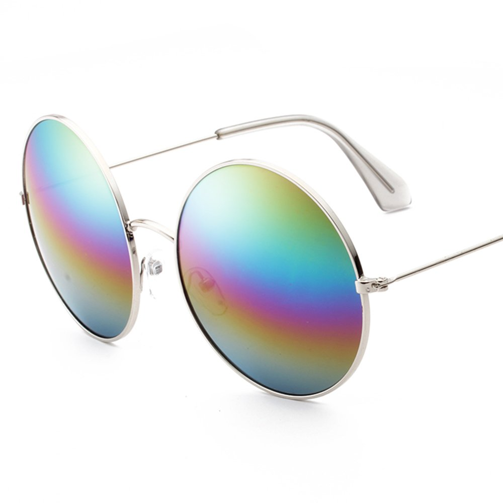 Sunglasses LVZAIXI Gafas de sol de protección polarizadas redondas Lennon clásico con bisagra de primavera de marco de metal Vintage… EGZEdGSlW