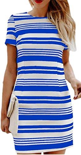 Jaycargogo Des Femmes De Manches À Rayures Coupe Cintrée Courte Encolure Ras Du Cou Mini-robe Bleue