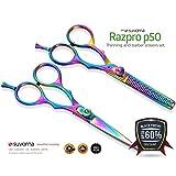 "Suvorna 5.5"" Professional Barber Razor Edge Titanium Coated Hair Cutting and Texturizing Shears / Scissors Set"