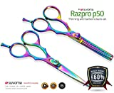 Suvorna Professional Barber Razor Edge Titanium Coated Hair Cutting and Texturizing Scissors Set Razpro P50, Multicolor, 15.4 Ounce
