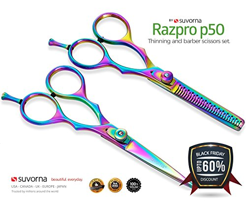 "Suvorna 5.5"" Precision Razor Edge Japanese Stainless Steel Barber Scissors Set. Hair Styling, Trimming, Cutting & Layering with Multi Color Titanium Coated.Perfect for Salons & Home"