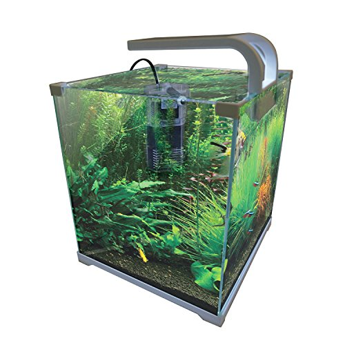 Vepotek AQUARIUM FISH TANK NANO Kit 4 Gallons w/LED light and (Aquarium Tempered Glass)