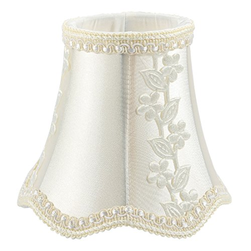 uxcell 8cm-13.5cm Dia 12cm Height Cloth Candle Lamp Cover Shade Lampshade Yellowish