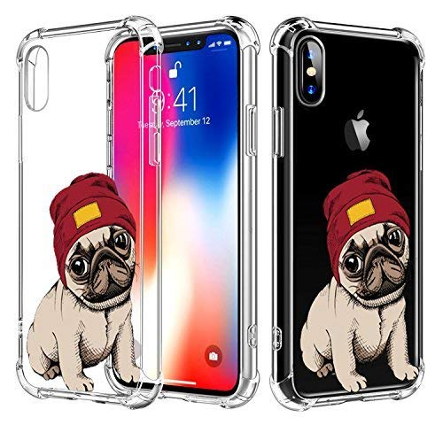 iPhone Xs Case Dog Hepix Adorable Pug iPhone X Case Clear Soft Cute Cartoon Pug with Red Hat TPU Bumper Protective Cover Case for iPhone Xs iPhone X