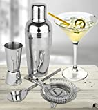 Image of Estilo 4 Piece Stainless Steel Professional Cocktail Shaker & Bar Tool Set, Silver