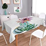 Anmaseven Cactus Rectangle Dinner Picnic Table Cloth Cactus Spikes Flower in Hot Mexican Desert Sand Botanical Natural Image Waterproof Table Cover for Kitchen Pink Green and Blue Size: W60 x L90