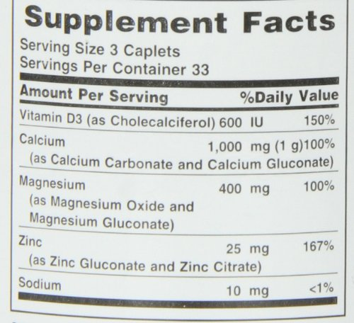 Nature's Bounty Calcium Carbonate Pills with Magnesium and Zinc Mineral Supplement, Supports Bone Strength and Health, 1000mg, 100 Caplets by Nature's Bounty (Image #3)