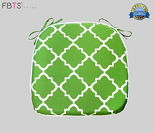 Chair Cushion 16 x 17 Inches Indoor/Outdoor Seat Pads Square (Set of 2, Deep Green, Quatrefoil Lattice) for Outdoor Patio Furniture Garden Home Office by FBTS Prime