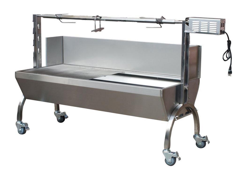 Kitchnexus Edelstahl Spanferkelgrill BBQ Grillwagen Lammgrill mit Windschild 89cm/35''